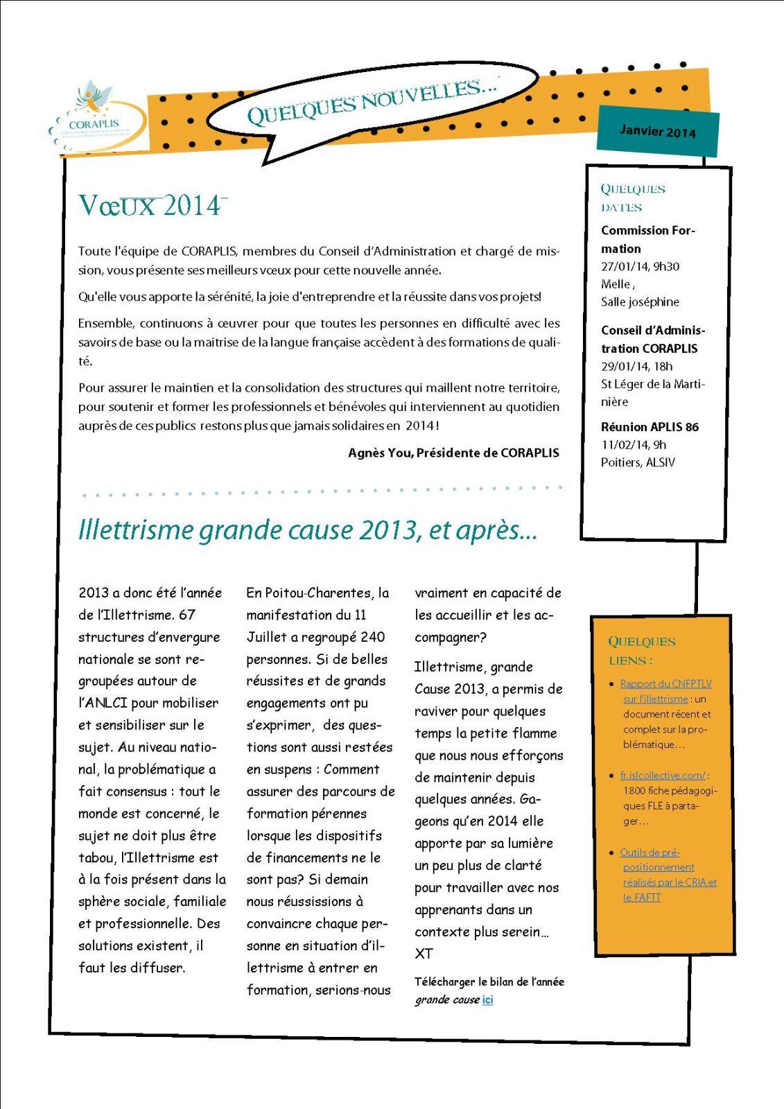 Qques Nouvelles Janvier 2014