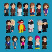 25496205 - set of pixel art 3d people icons, vector illustration