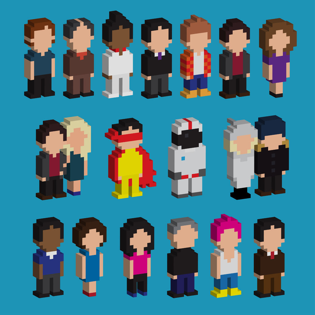 25496205 - set of pixel art 3d people icons, vector illustration